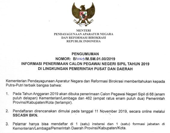 Download Daftar Lengkap Rincian Formasi CPNS Tahun 2019 di Lingkungan Pemerintah Pusat dan Daerah