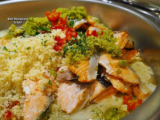 Hotel Istana Kuala Lumpur Christmas Menu - Crusted Salmon with Pomegranate Cous Cous and Maitre D'Hotel Butter