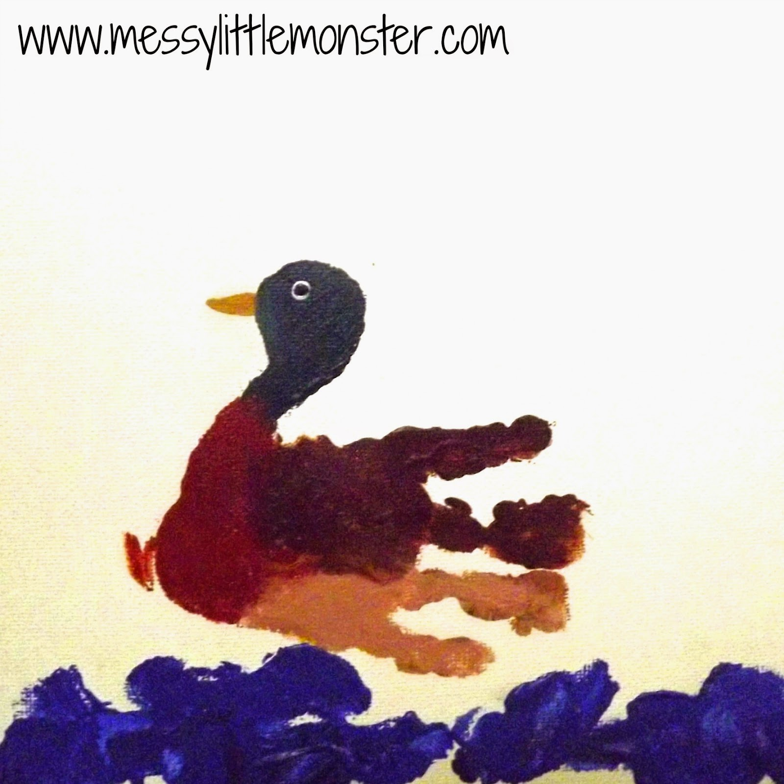 Duck craft - Animal handprints on canvas.  Simple gift ideas for toddlers and preschoolers to make.