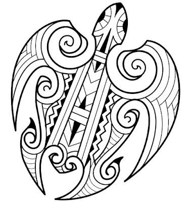 Turtle Maori tattoo stencil