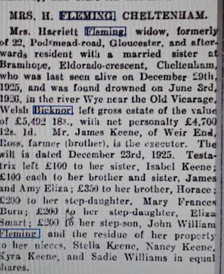 Will of Harriett Keene Welsh Bicknor