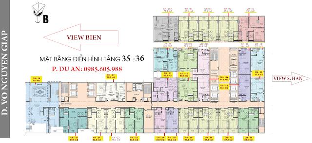 Mặt bằng căn hộ Central Coast Đà nẵng tầng 35-36
