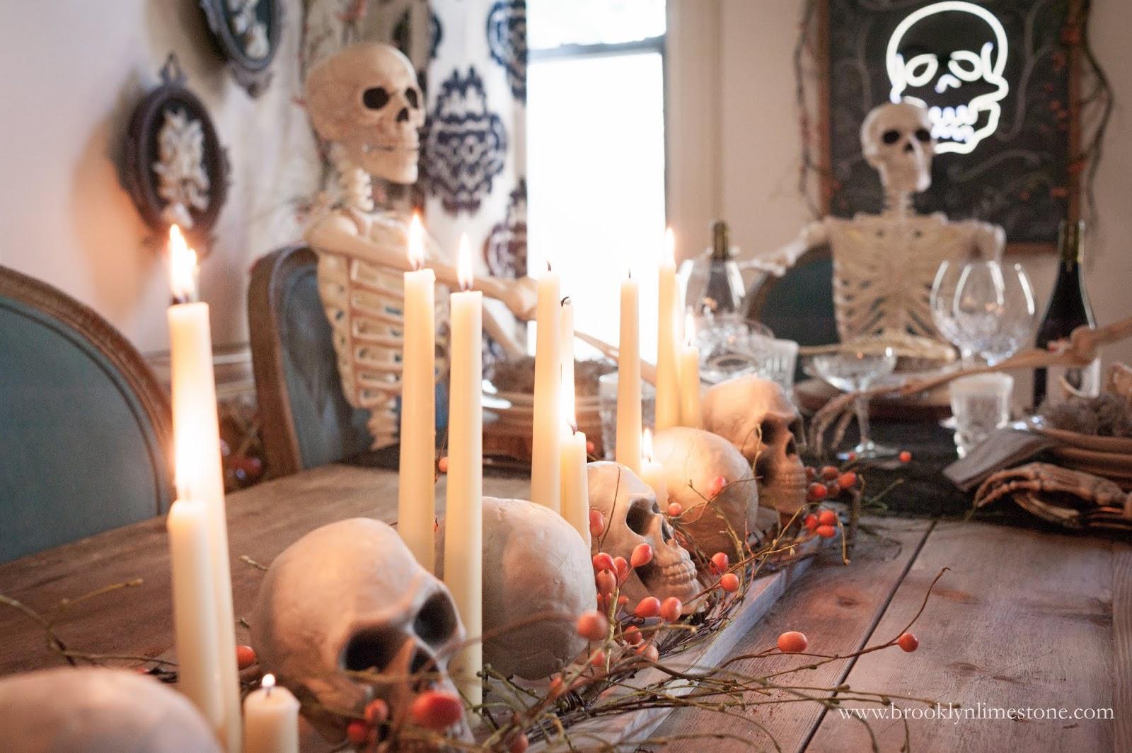 candles and skull halloween centerpiece www.brooklynlimestone.com