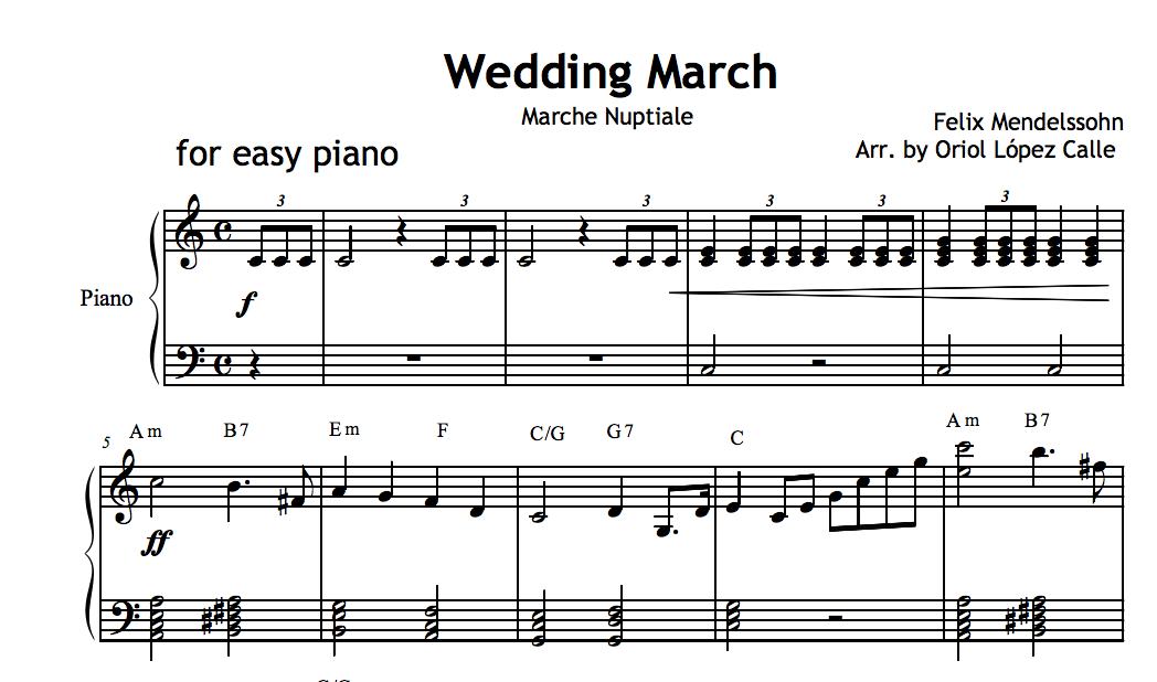 Wedding March (Mendelssohn) Sheet music and midi file