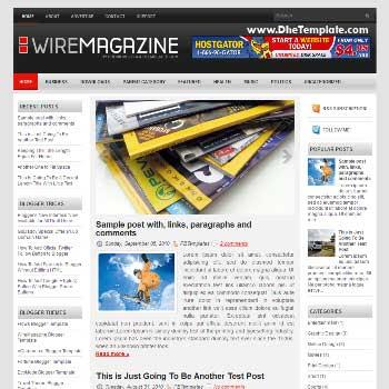 WireMagazine blog template. template image slider blog. magazine blogger template style. blogger template 3 column