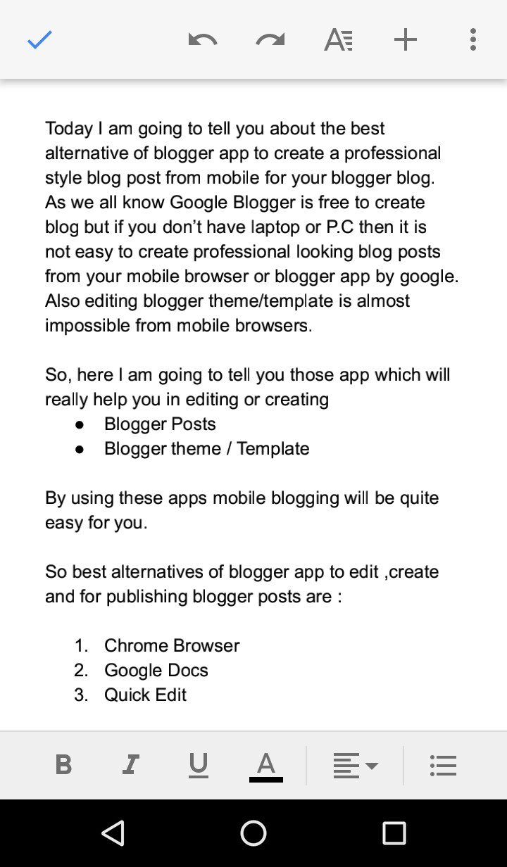 Google docs mobile post