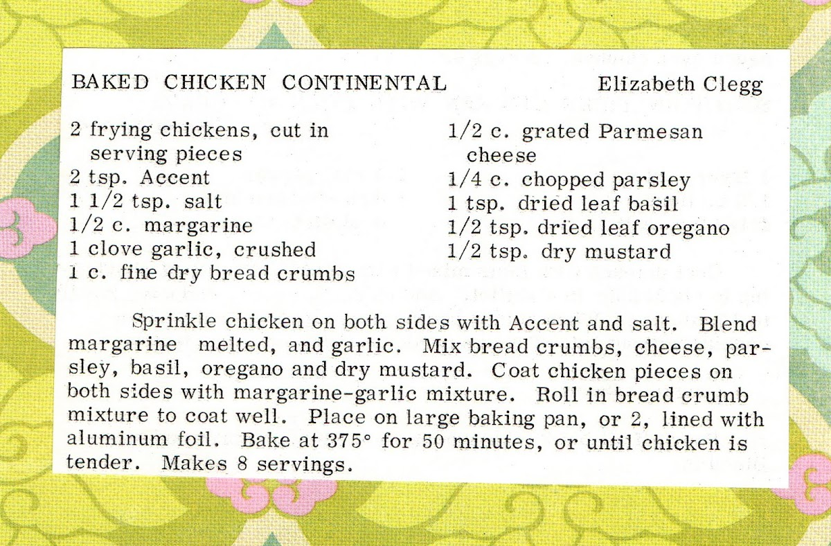 Baked Chicken Continental (quick recipe)