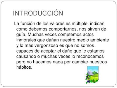 introducción valores ambientales