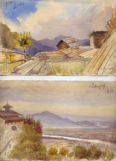 aquarell, linz, ,donau, blick vom poestlingberg, unbekannter meister