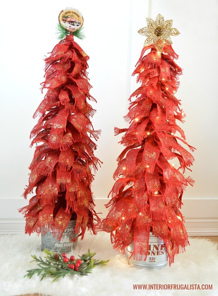 Red Burlap Ribbon Trees For The Holidays