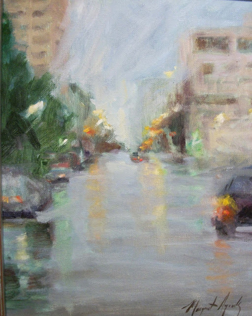 rainy day city oil painting by margaret aycock