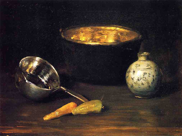 Magnificent still life with kitchen objects by William Merritt Chase