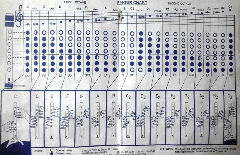 Bamboo Flute fingering Chart