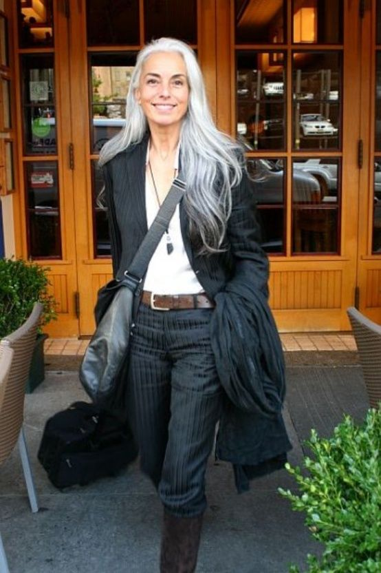 image result for stunning midlife woman grey hair pinstripes