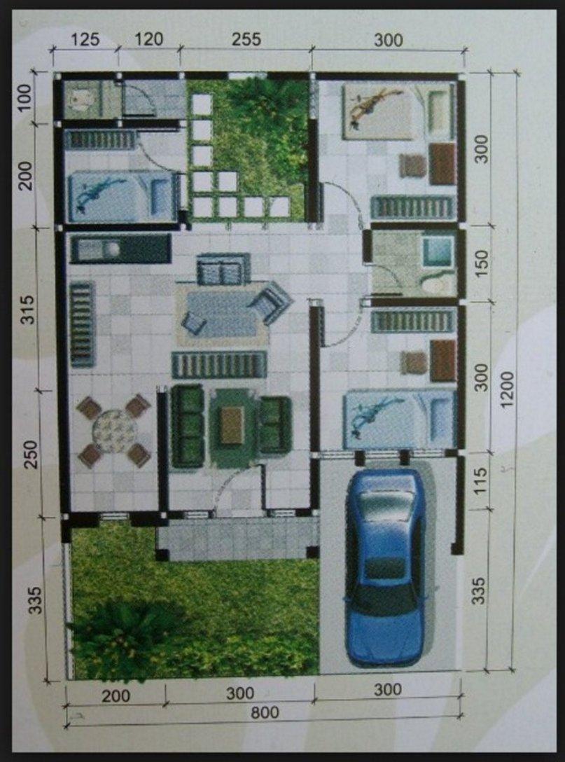 denah rumah ukuran 10x12 m yang minimalis