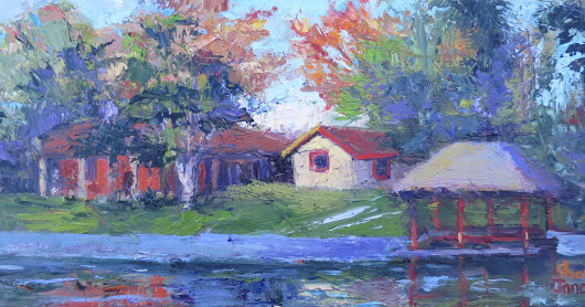 My Neighborhood Reflections, New Contemporary Landscape Painting by Sheri Jones