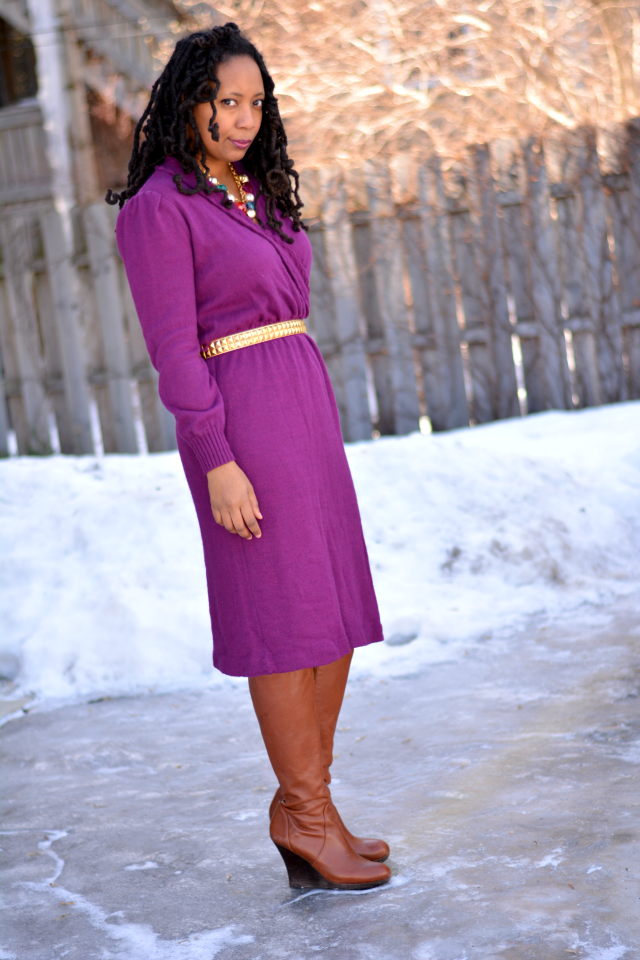 dress worn with wedge boots