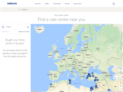 No Nokia Mobile Care Centers in Europe