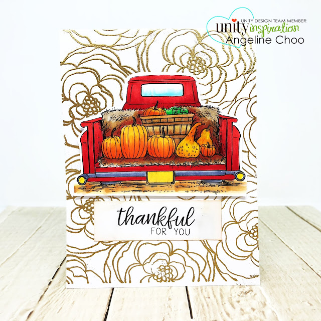 ScrappyScrappy: Red & Gold with Unity Stamp - Bountiful Haul #scrappyscrappy #unitystampco #copicmarkers #redtruck #bountifulhaul #bountifulharvest #pumpkin #quicktipvideo #youtube #thanksgiving