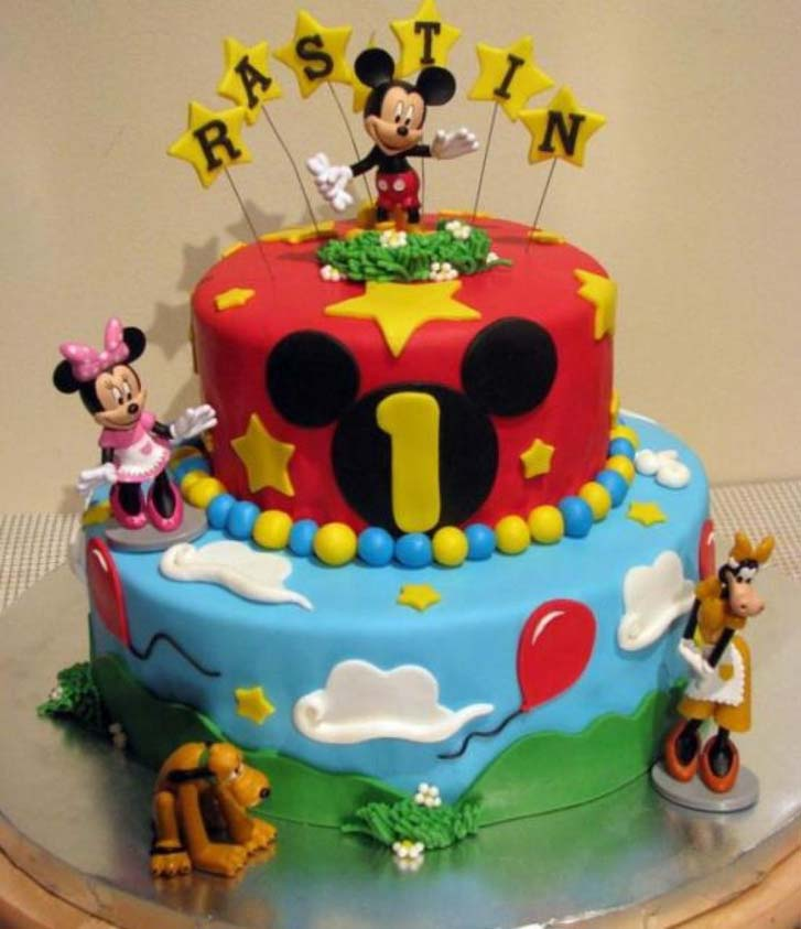Astonishing Mickey Mouse Birthday Cake Design Personalised Birthday Cards Bromeletsinfo