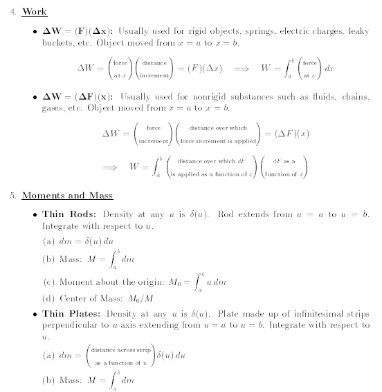 Formulas for application of integral