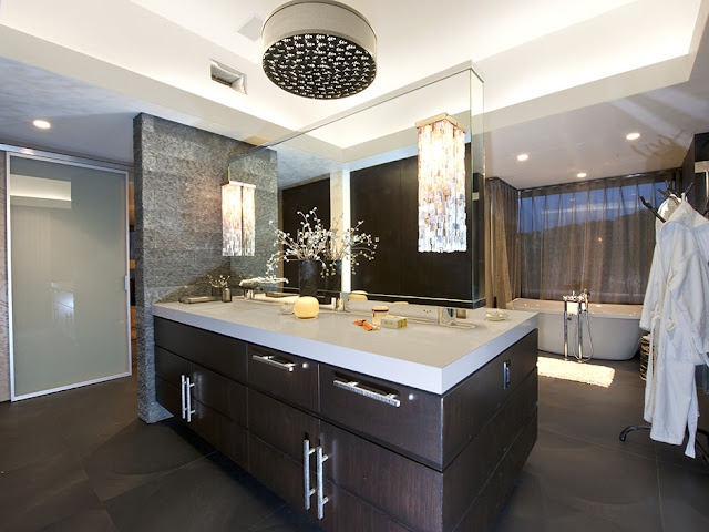 Picture of dark wood on the modern bathroom furniture