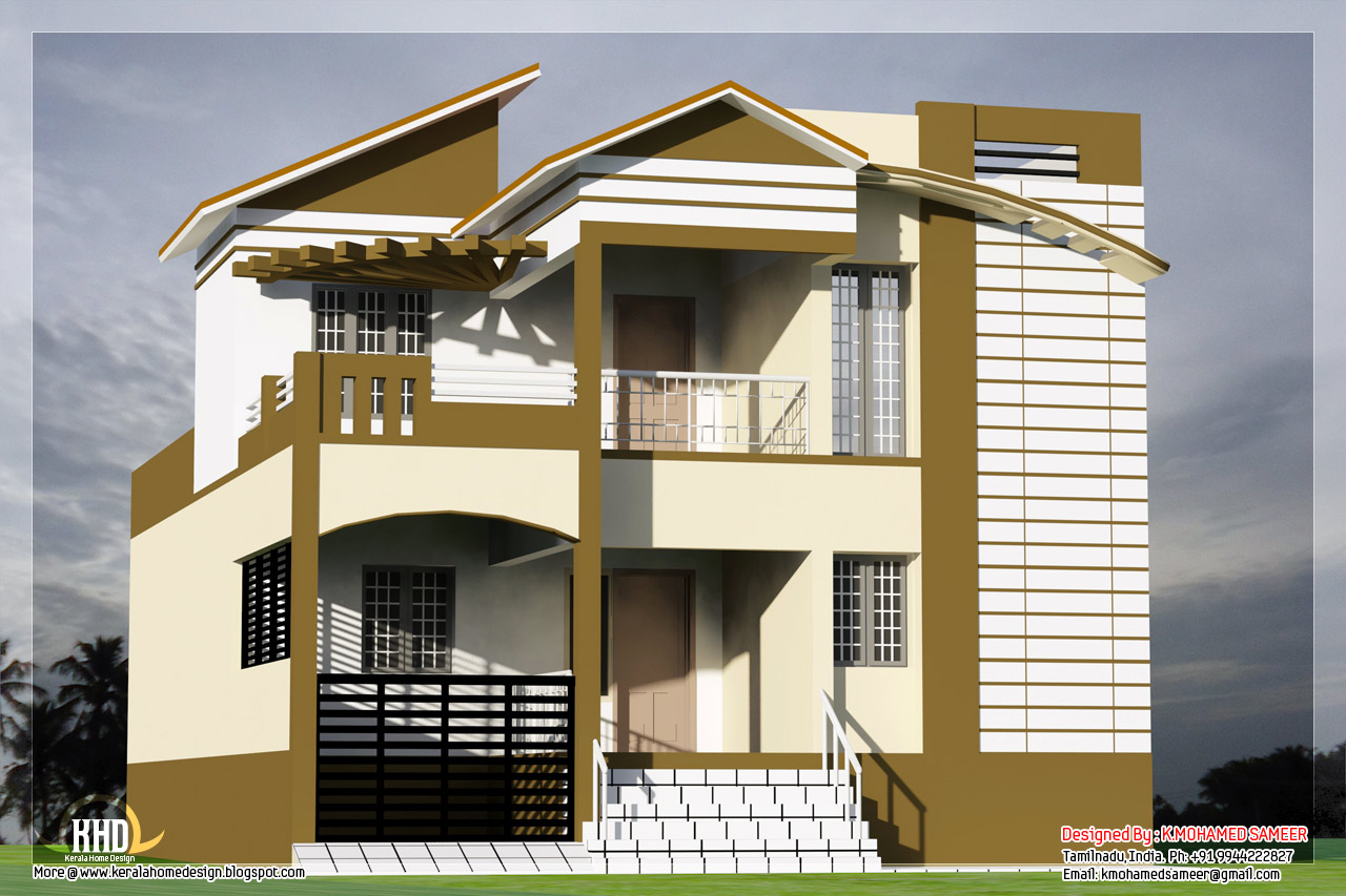 3 bedroom south indian house design kerala home design for Indian house outlook design