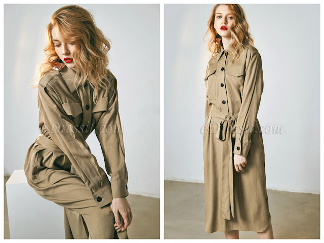 Long Sleeves Day Dress with Waistband