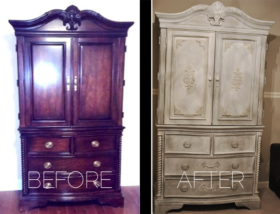 Tv Cabinet Distresed Black Chalk Paint