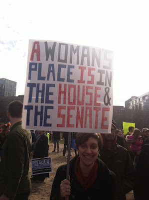 """A Woman's Place is in the House...& the Senate"" Sign at the Boston Women's March"