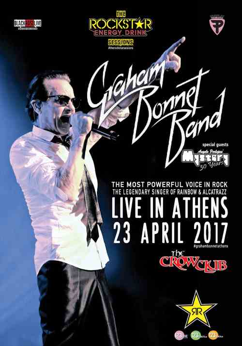 GRAHAM BONNET Κυριακή 23 Απριλίου @ The Crow Club μαζι με Angelo Perlepes' MYSTERY