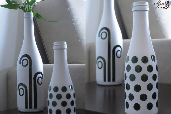 14 ideas para decorar botellas de vidrio en blanco y negro - Ideas para decorar botellas ...
