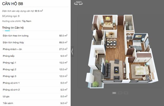 Thiết kế căn hộ B8 chung cư The Legend