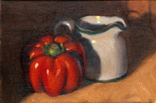 Oil painting of a red pepper beside a white porcelain milk jug.