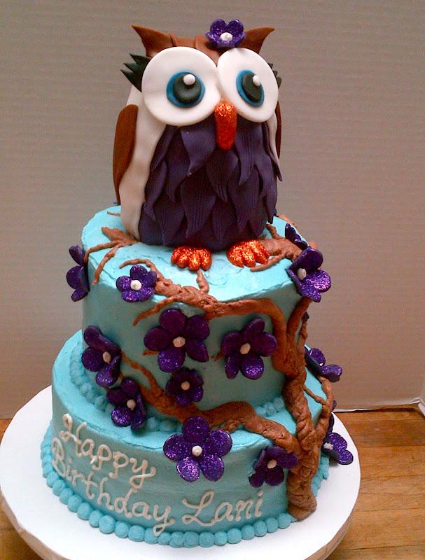 Plumeria Cake Studio: Owl Birthday Cake