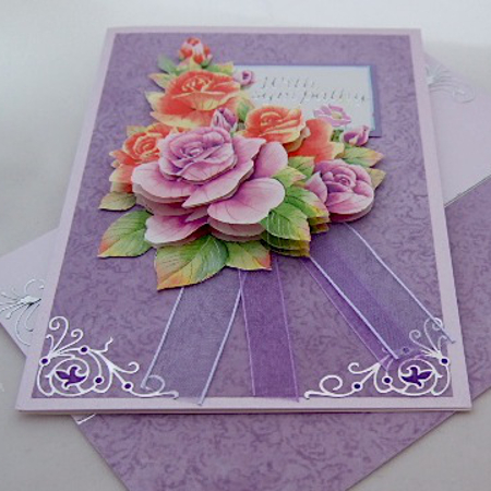 purple lilac handmade greeting card with rose flowers