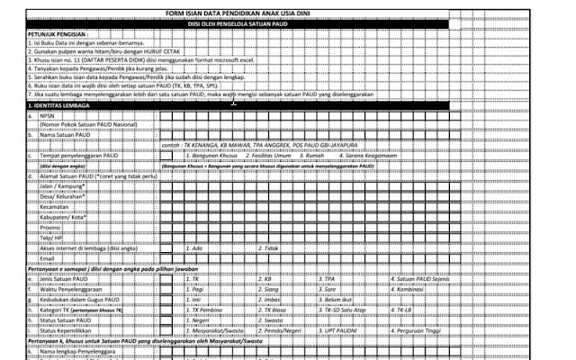 Formulir Isian Data Pendidikan Anak Usia Dini- www.berkassekolah.com