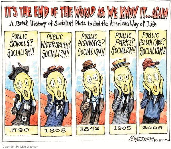 Title:  It's the End of the World as We Know It--a Brief History of Socialist Plots To End the American Way of Life.  Image:  A series of caracitures of Munch's