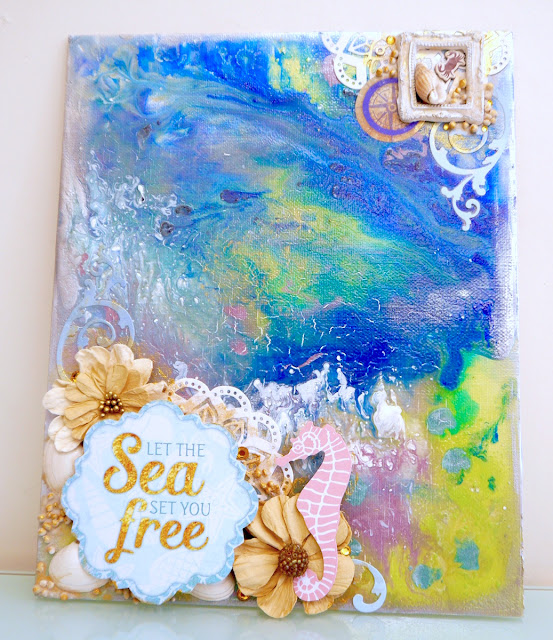 Let The Sea Set You Free Altered Art by Katherine Sutton for BoBunny using Down by the Sea