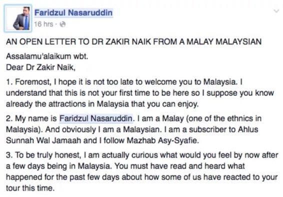 Surat Terbuka Mewakili Rakyat Malaysia Untuk Dr Zakir Naik