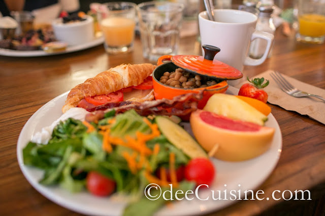 Salad, Ham and Cheese Croissant and baked beans at Le Cartet in Montreal