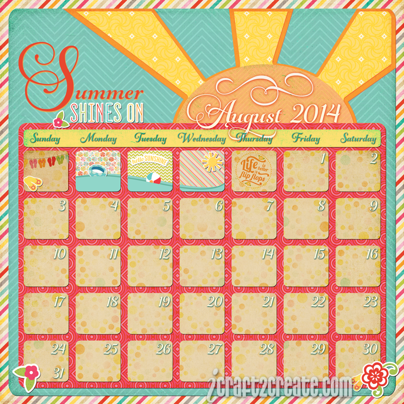 Echo Park, Summer Bliss, Summer, August, Calendar Day, Photoshop, Digital, Gioviale font, Make The Cut
