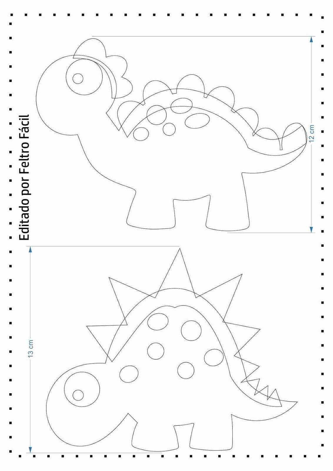 Favoritos Feltro Fácil Moldes e Apostilas: Molde de Dinossauros em Feltro! CY21