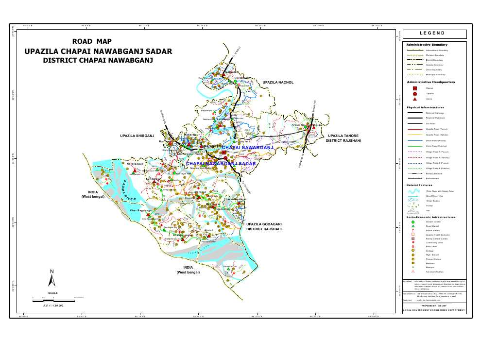 Nawabganj Sadar Upazila Road Map Nawabganj District Bangladesh