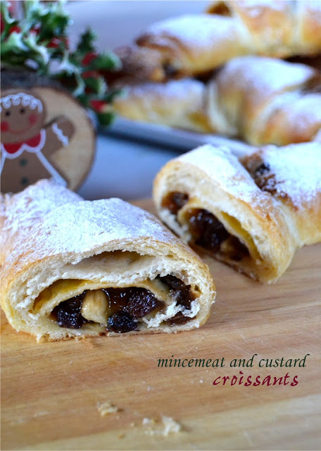 mincemeat and custard croissants