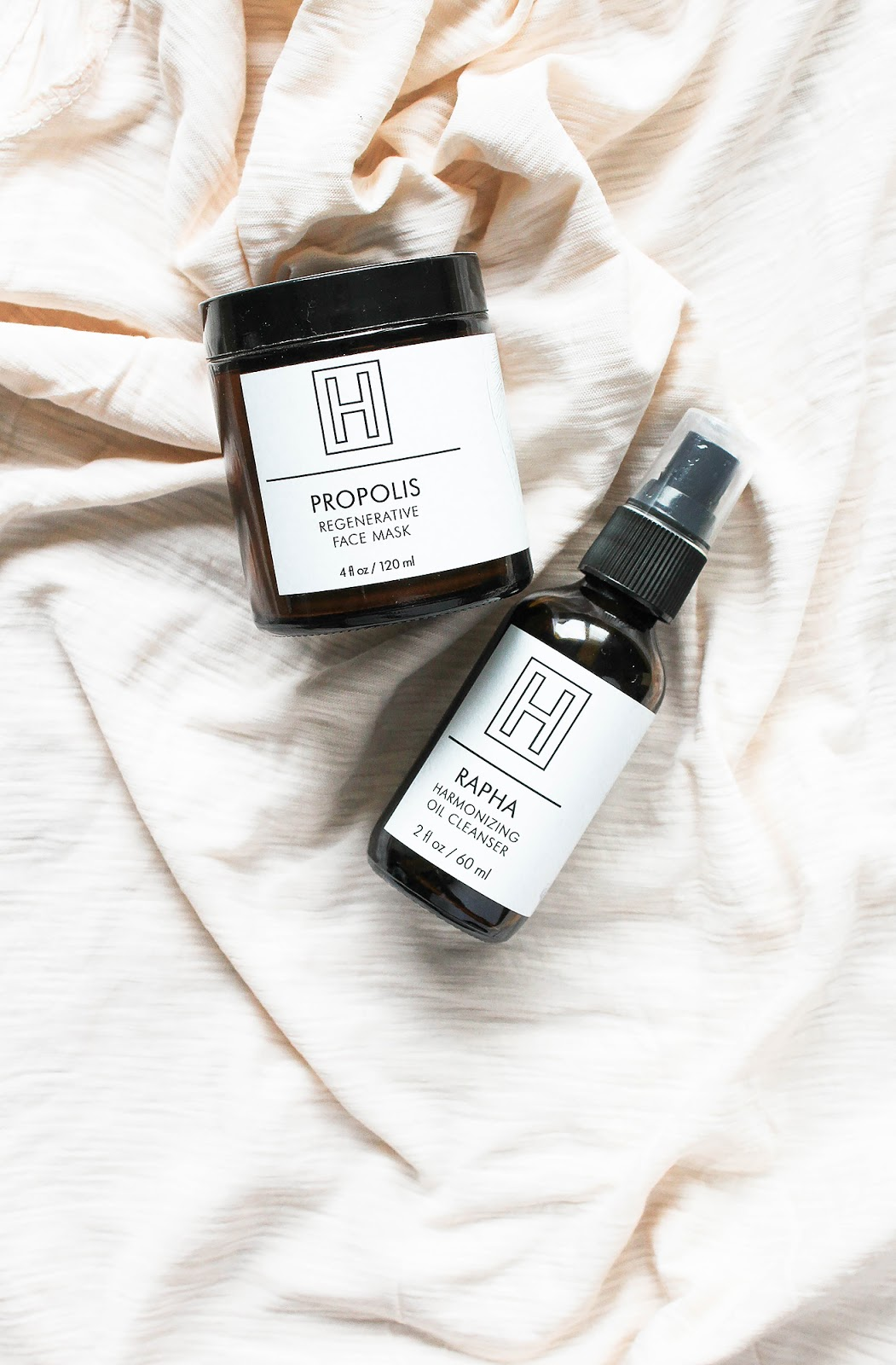H IS FOR LOVE Rapha Harmonizing Oil Cleanser and Propolis Regenerative Face Mask. Vegan, organic. So Natural Beauty.