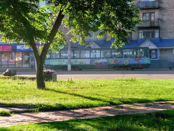 Конотопский трамвай на проспекте Мира