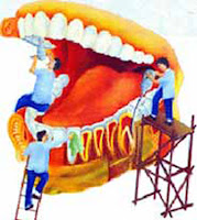 illustration of dentists on scaffolding cleaning and checking teeth in giant mouth