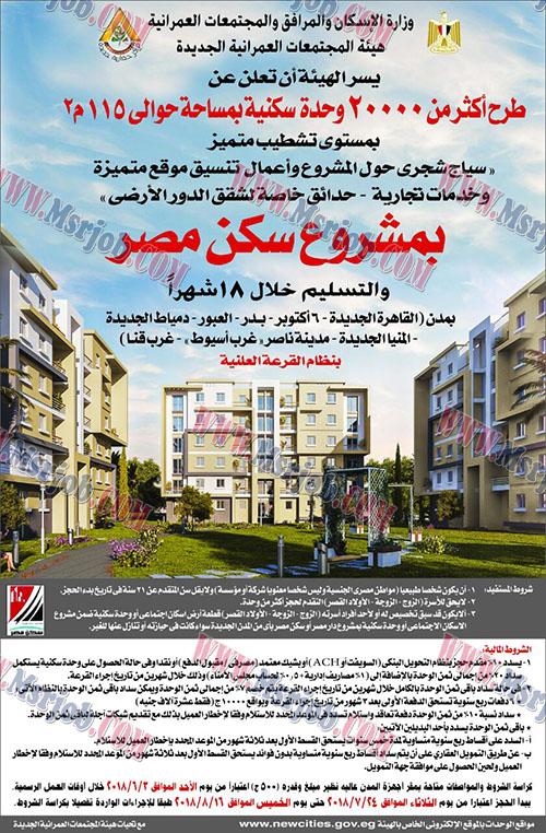 """تفاصيل سحب كراسات شروط المرحلة الثانية من مشروع """"سكن مصر"""" والمطروح بــ8 مدن جديدة."""