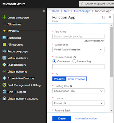 Azure Function - Creating Function App on the Azure Portal